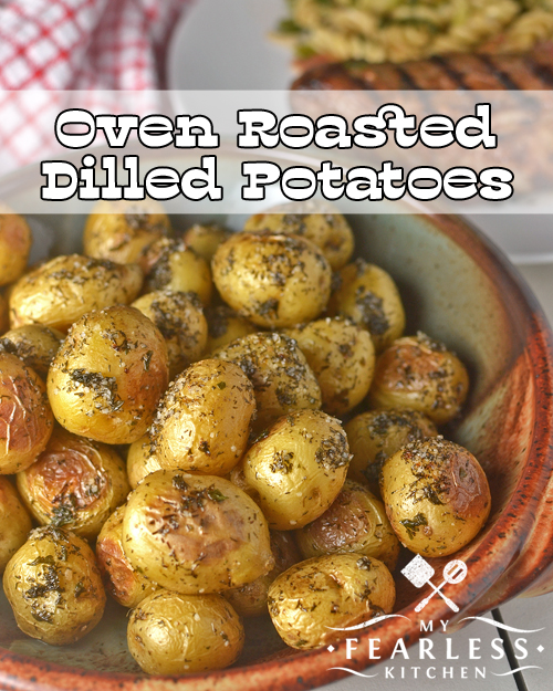 a big bowl of little potatoes oven-baked with dill and salt