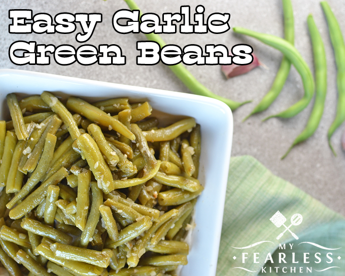 Easy Garlic Green Beans from My Fearless Kitchen. Use fresh or frozen green beans to make these Easy Garlic Green Beans. They're the perfect side dish for anything, and there won't be any leftovers!