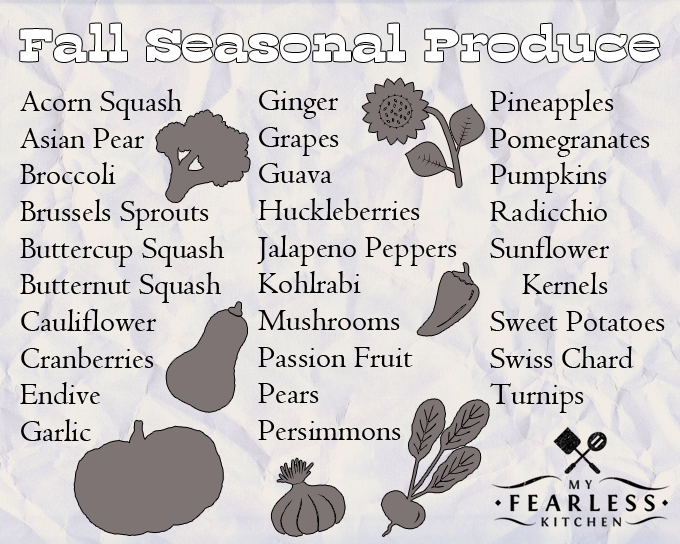 Fall Fruits & Vegetables in Season from My Fearless Kitchen - FREE printable cheat sheet! Fall is for crisp, cool weather, fire pits, and football. See what fall fruits and vegetables are in season, get the best deals, and try something new!