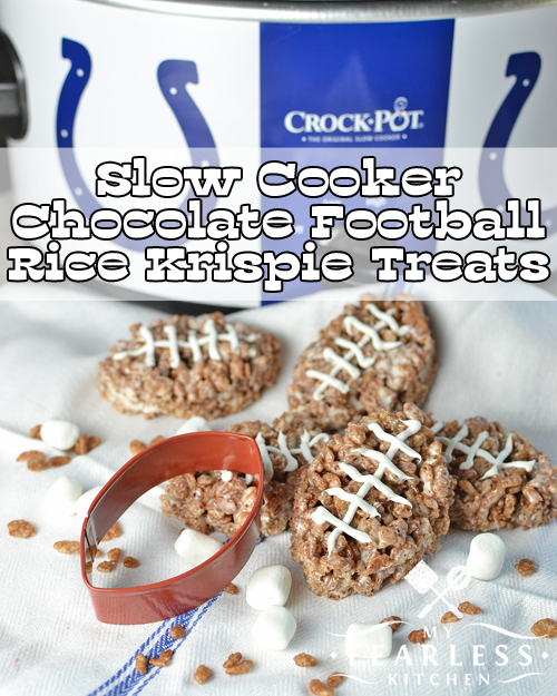 Slow Cooker Chocolate Football Rice Krispie Treats from My Fearless Kitchen. These adorable Chocolate Football Rice Krispie Treats are the perfect snack for your next tailgate party. Skip the stove and make them in your slow cooker!