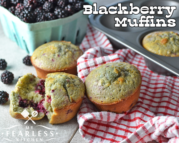 Blackberry Muffins with fresh blackberries and a muffin tin