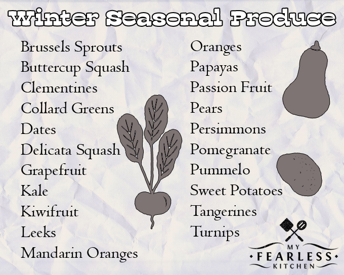 list of fruits and vegetables in season in the winter