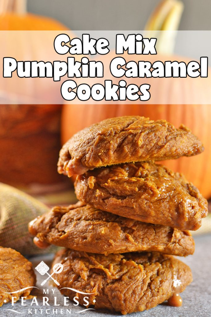 Cake Mix Pumpkin Caramel Cookies from My Fearless Kitchen. This easy cake mix cookie recipe is perfect for fall, winter, or anytime! Satisfy your pumpkin spice craving with simple Cake Mix Pumpkin Caramel Cookies. #recipes #cakemix #pumpkin #caramel #cookies