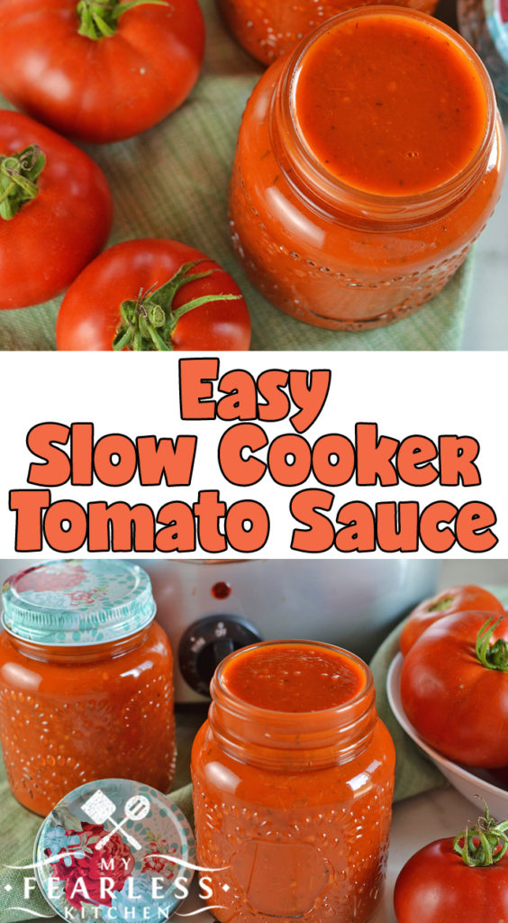 Easy Slow Cooker Tomato Sauce from My Fearless Kitchen. Make the most of your garden-fresh tomatoes with this Easy Slow Cooker Tomato Sauce. Make a few big batches now and freeze it to use all winter long. #slowcooker #crockpot #tomato #tomatosauce #easyrecipes