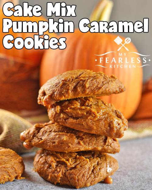 Cake Mix Pumpkin Caramel Cookies from My Fearless Kitchen. This easy cake mix cookie recipe is perfect for fall, winter, or anytime! Satisfy your pumpkin spice craving with simple Cake Mix Pumpkin Caramel Cookies.