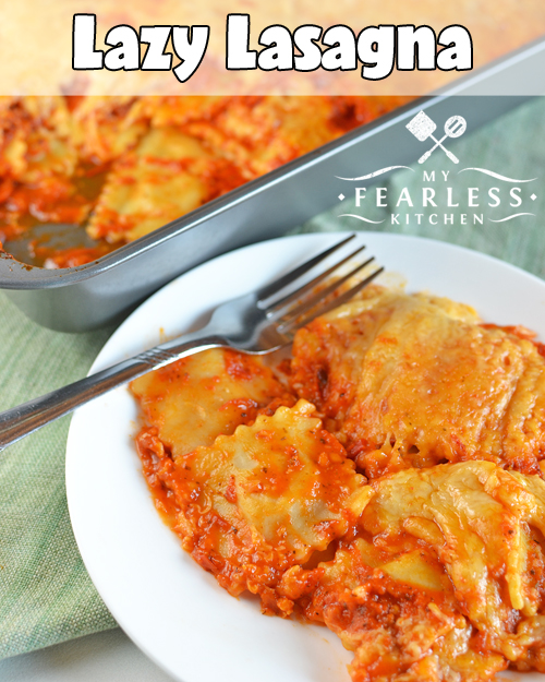 Lazy Lasagna casserole made with ravioli and lots of cheese