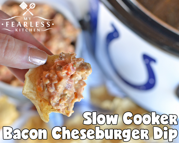 Slow Cooker Bacon Cheeseburger Dip from My Fearless Kitchen. Are you looking for a hearty dip for your next party or tailgate that everyone will love? This Slow Cooker Bacon Cheeseburger Dip hits the spot, every time!