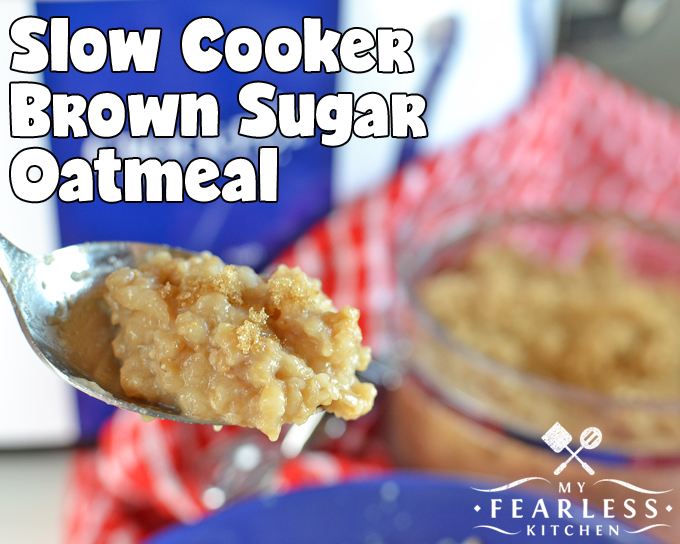 spoonful of brown sugar oatmeal with a crock-pot in the background
