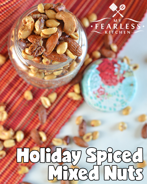 Holiday Spiced Mixed Nuts from My Fearless Kitchen. Are you looking for a simple recipe for a fast family snack or a quick party treat? You'll love this recipe for very easy Holiday Spiced Mixed Nuts!