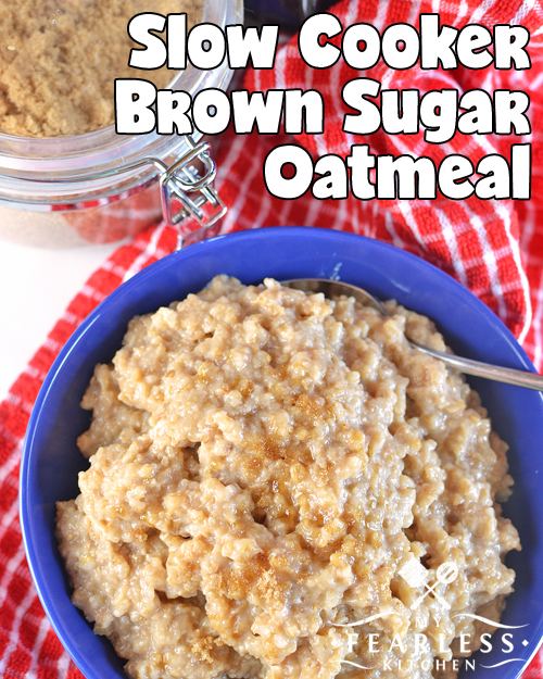 overhead view of steel-cut oatmeal with brown sugar in a blue bowl