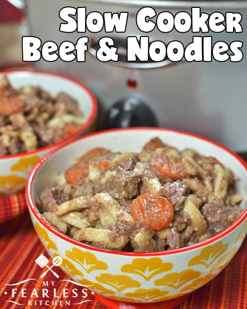 Slow Cooker Beef & Noodles from My Fearless Kitchen. Toss a big roast in your crockpot or use leftovers from yesterday's roast, and you've almost got this easy Slow Cooker Beef and Noodles ready for dinner!