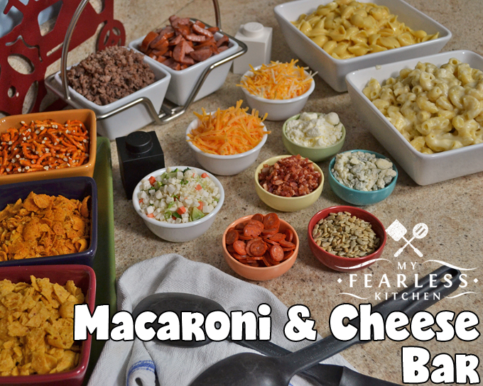 Macaroni & Cheese Bar from My Fearless Kitchen. Whether you're having a lot of friends over to celebrate, or you're having a quiet night in with your family, make it more fun with this easy Macaroni and Cheese Bar! Your imagination is the only limit when it comes to toppings for mac & cheese.
