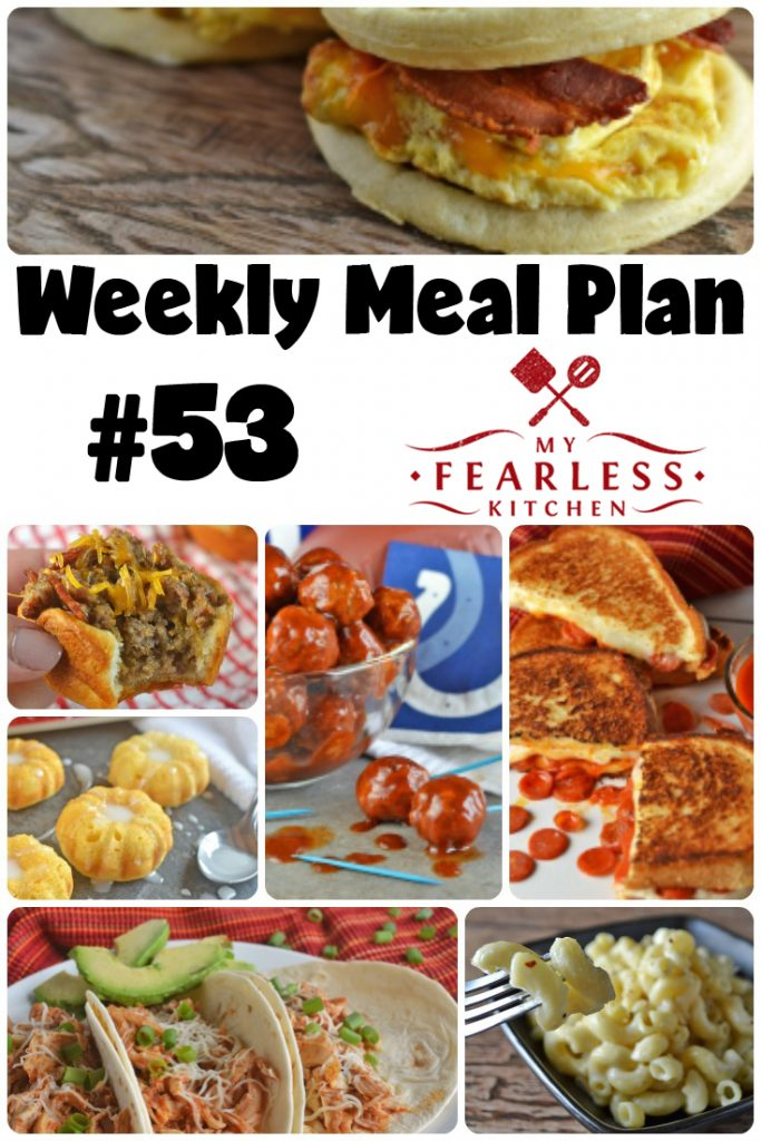 Weekly Meal Plan #53 from My Fearless Kitchen. This week's meal plan includes Bacon & Egg Waffle Sandwiches, Slow Cooker Chicken Tacos, Apricot-Glazed Pork Chops, Pepperoni Pizza Grilled Cheese, Sweet & Spicy Saucy Meatballs, Bacon-Ranch Cheeseburger Cups, Garlic-Parmesan Mac & Cheese, and Mini Lemon Bundt Cakes.