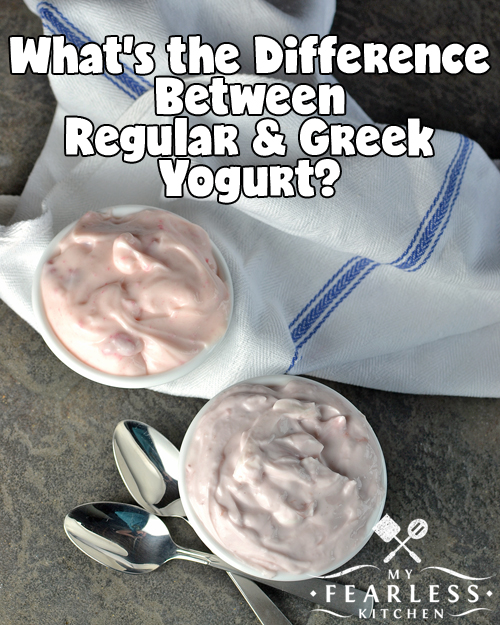 "What's the Difference Between Regular & Greek Yogurt? from My Fearless Kitchen. Greek yogurt and ""regular"" yogurt look a little different and taste a little different. But what makes them different? And is one better - or better for you - than the other?"