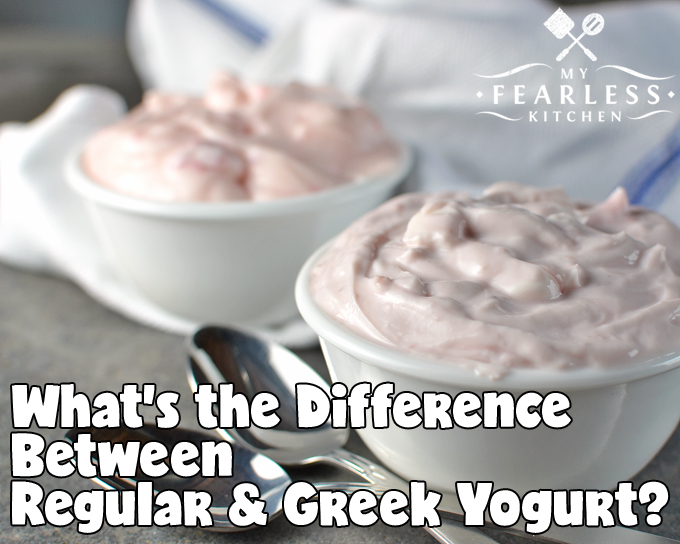 """What's the Difference Between Regular & Greek Yogurt? from My Fearless Kitchen. Greek yogurt and """"regular"""" yogurt look a little different and taste a little different. But what makes them different? And is one better - or better for you - than the other?"""