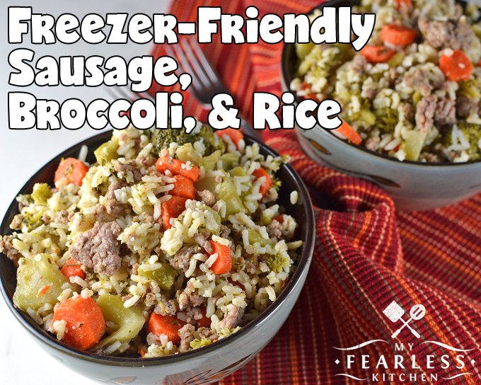 Freezer-Friendly Sausage, Broccoli, & Rice from My Fearless Kitchen. Are you looking for a simple one-pot meal that doesn't need much prep, cooks in a hurry, and makes plenty of leftovers? This Freezer-Friendly Sausage, Broccoli, and Rice is just what you need!