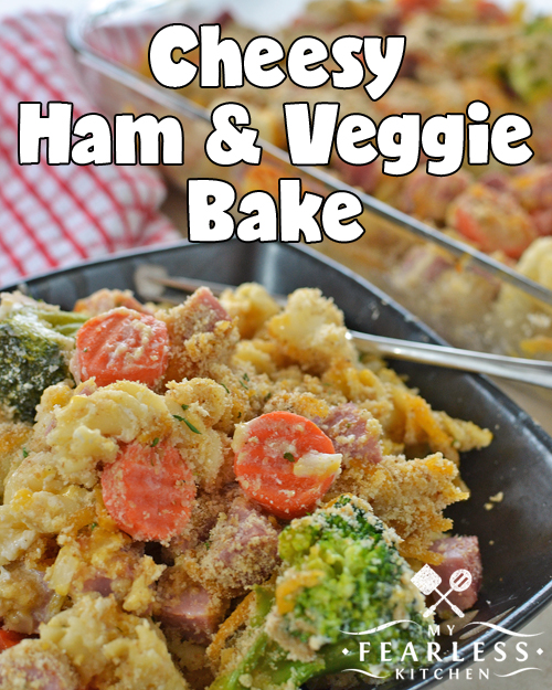 ham, pasta, broccoli, cauliflower, and carrots baked with cheese and bread crumbs
