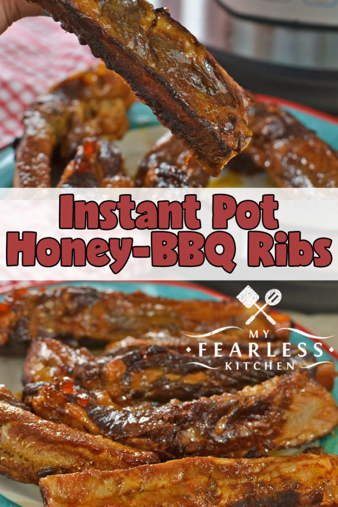 Instant Pot Honey-BBQ Ribs from My Fearless Kitchen. Want some fall-off-the-bone, perfectly tender ribs, but don't have all day to cook them? These Instant Pot Honey-BBQ Ribs are just the thing for those rushed nights. #instantpot #instantpotrecipes #ribs #porkribs #ribrecipes