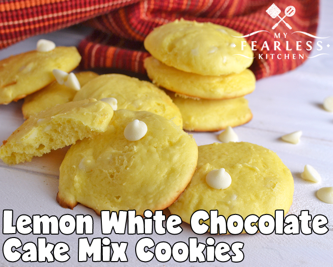 Lemon White Chocolate Cake Mix Cookies from My Fearless Kitchen. Do you love lemon? Do you love chocolate? These Lemon White Chocolate Cake Mix Cookies are the perfect cookie for you! With a cake mix base, these Lemon White Chocolate Cookies bake up in a snap!