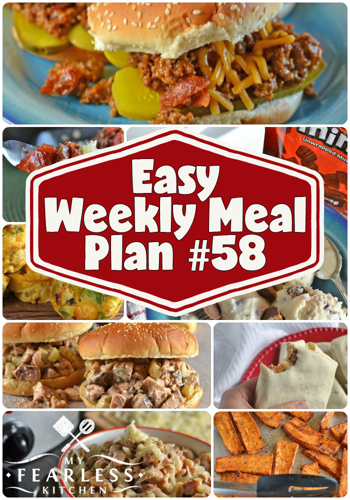 Easy Weekly Meal Plan #58 from My Fearless Kitchen. This week's meal plan includes Ham, Egg, & Cheese Muffins, Honey-BBQ Chicken Salad, Bacon Cheeseburger Sloppy Joes, Stay-or-Go Burritos, Slow Cooker Cheesy White Turkey Chili, Spaghetti Squash with Meat Sauce, Oven-Baked Sweet Potato Fries, and Homemade Peanut Butter Ice Cream. #mealplans #mealplanning #recipes #menuplans #easyrecipes