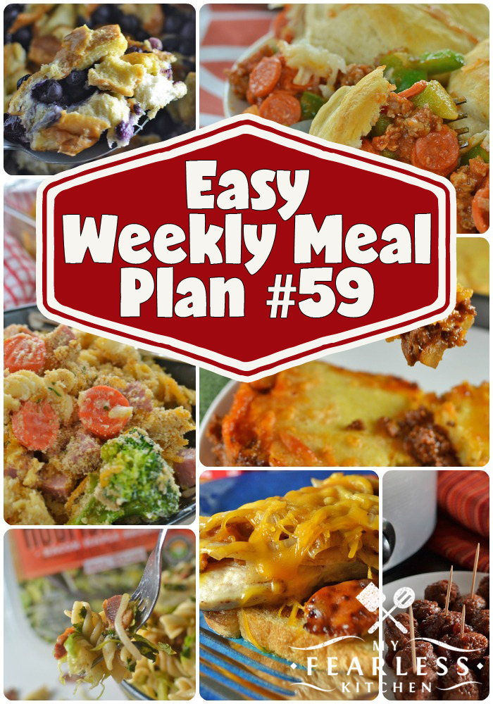 collage of recipes in a weekly meal plan
