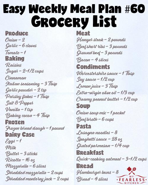 printable grocery list for meal plan