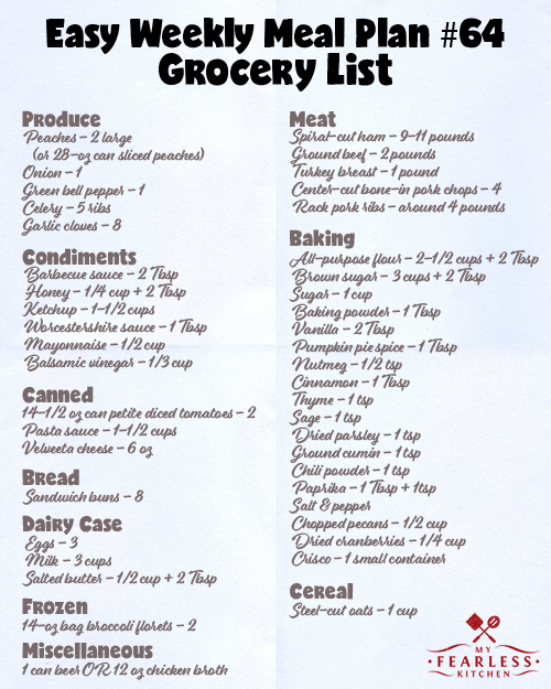 easy weekly meal plan 64 my fearless kitchen