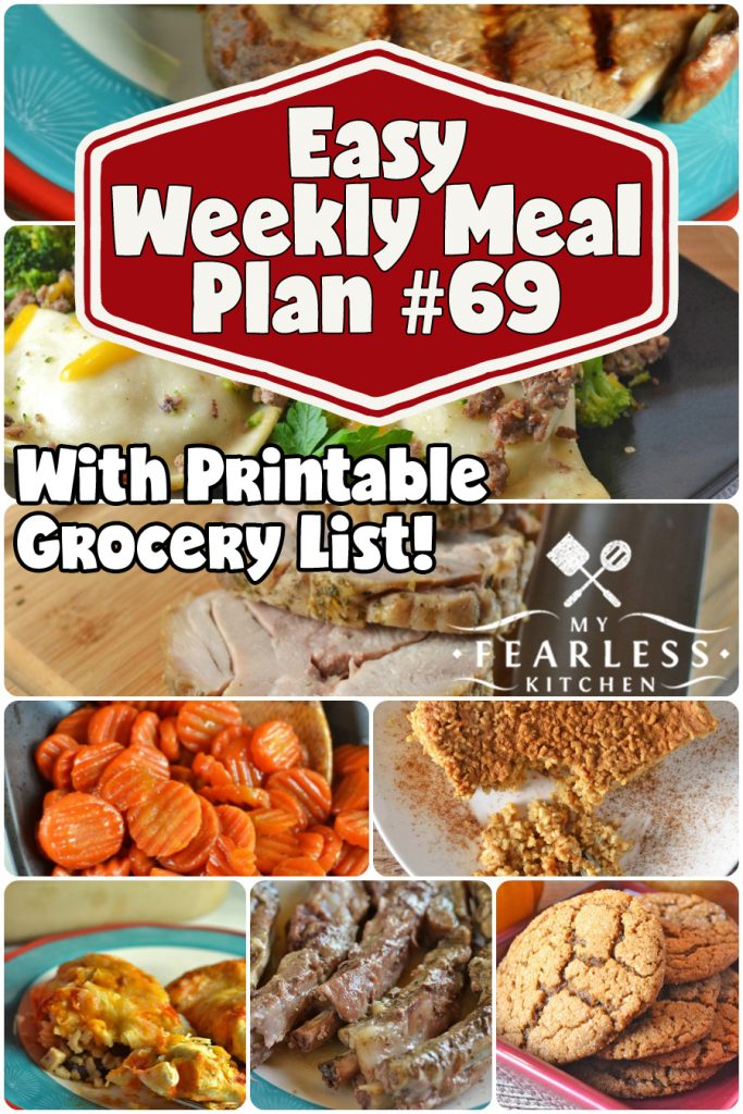collage of recipes in this week's meal plan