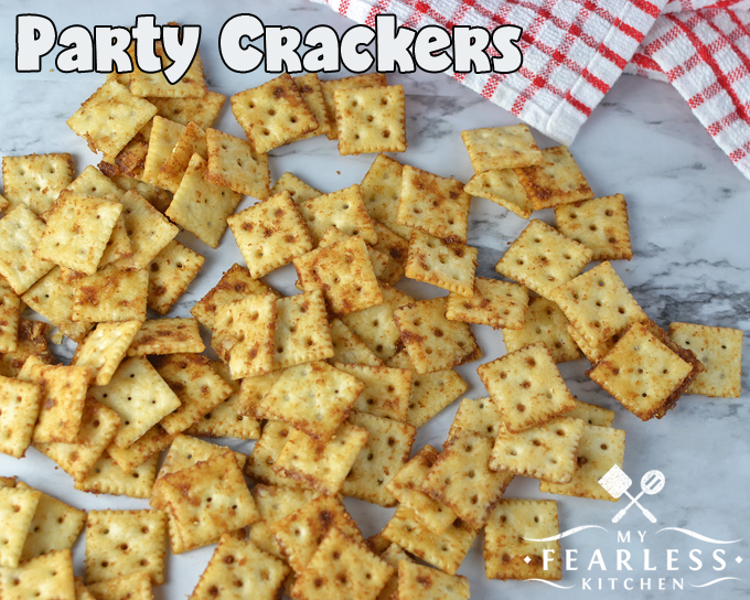 seasoned mini crackers on a marble background