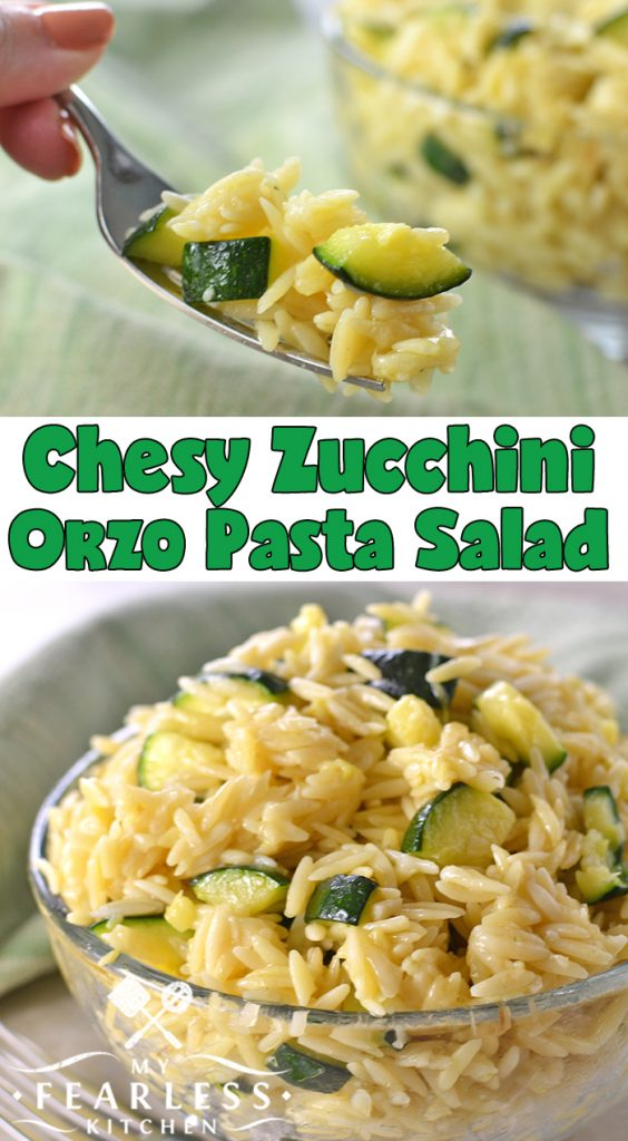 Cheesy Zucchini Orzo Pasta Salad from My Fearless Kitchen. This Cheesy Zucchini Orzo Pasta Salad is easy and delicious. It's perfect for a quick summer dinner, and with all that zucchini you can count it as a healthy vegetable! #zucchini #pasta #pastasalad #easyrecipes
