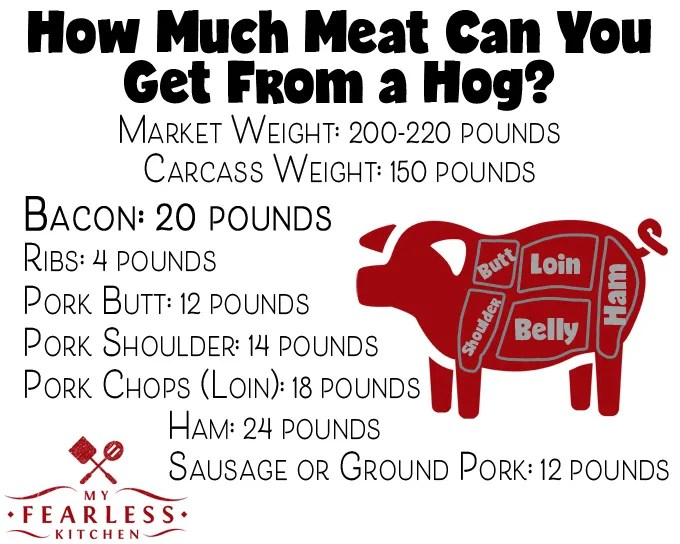 chart listing how much meat comes from a pig