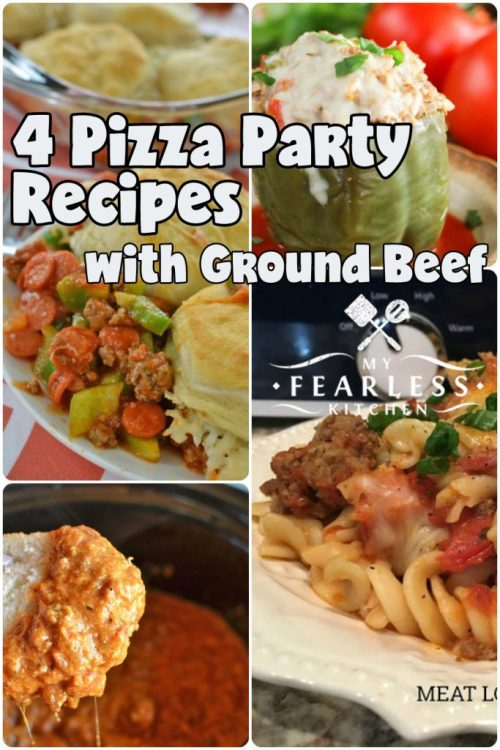 4 Pizza Party Recipes with Ground Beef from My Fearless Kitchen. Ground beef is a staple for quick and easy meals, but sometimes it can be hard to come up with new ideas. You'll love this list of 79 Amazing Ground Beef Recipes! There are sure to be some new family favorites in this list, and I guarantee you won't be bored!