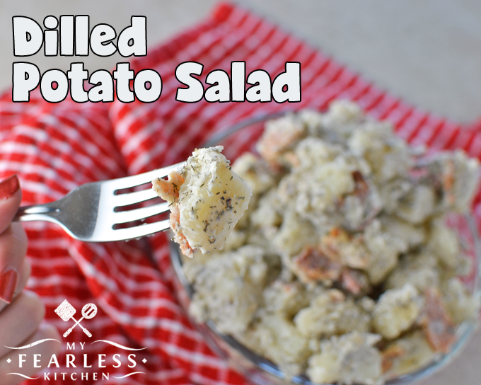 forkful of dilled potatoes with bacon