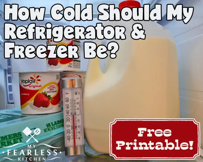 yogurt, milk, and eggs in a refrigerator with an appliance thermometer