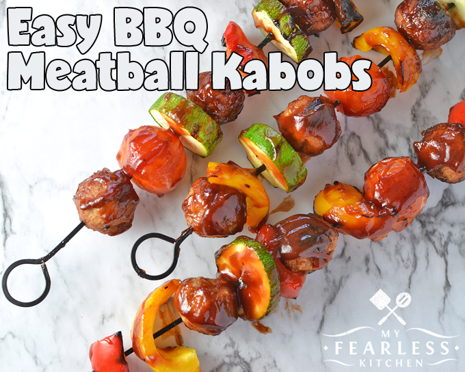 Easy BBQ Meatball Kabobs from My Fearless Kitchen. Heat up the grill for these Easy BBQ Meatball Kabobs. Use your favorite veggies and pre-cooked meatballs and dinner is ready in a snap on busy nights!