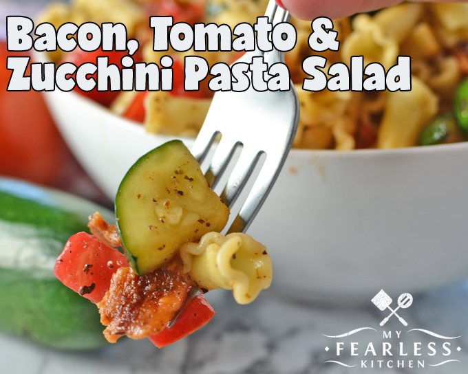 Bacon, Tomato, & Zucchini Pasta Salad from My Fearless Kitchen. This simple Bacon, Tomato, & Zucchini Pasta Salad is easy to make and packed full of delicious summer flavors. It's the perfect side dish to any summer meal!