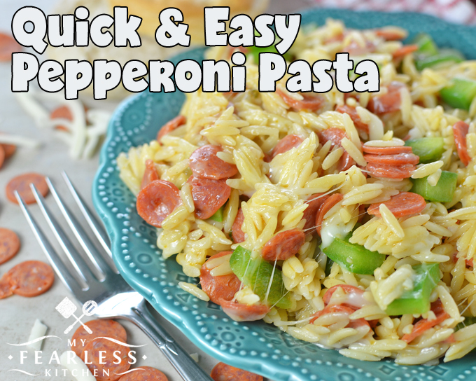 Quick & Easy Pepperoni Pasta from My Fearless Kitchen. Your whole family will love this Quick & Easy Pepperoni Pasta for your next pizza night! Be sure to save some for cold pizza leftovers the next day!