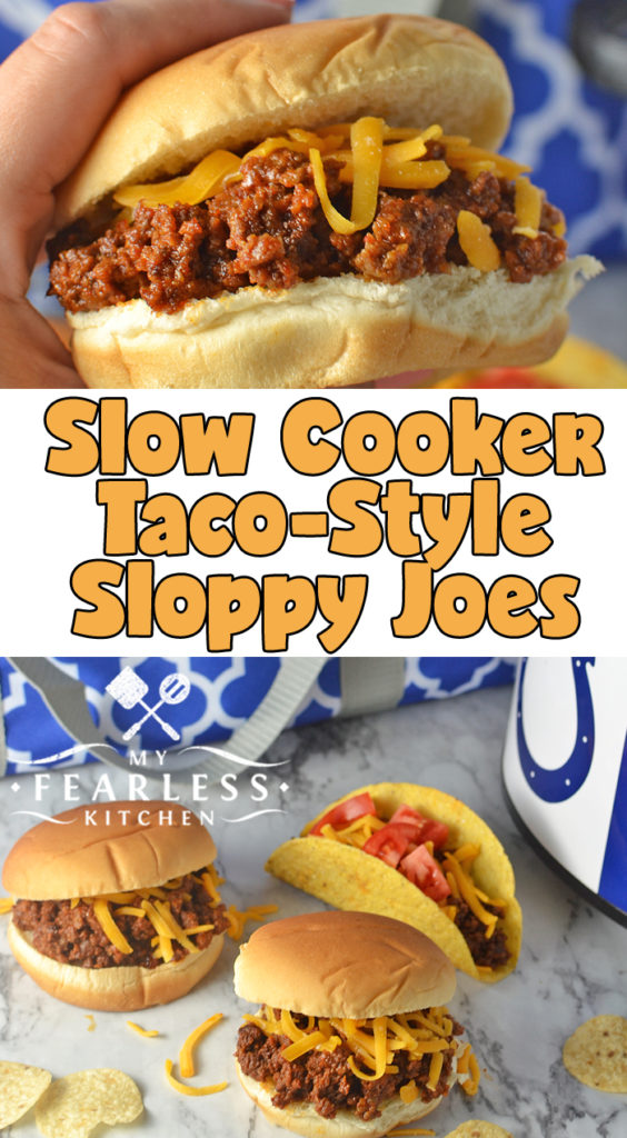 Slow Cooker Taco-Style Sloppy Joes from My Fearless Kitchen. These Slow Cooker Taco-Style Sloppy Joes will be the hit of any party. Eat them like a taco or like a sloppy joe, they're delicious either way! #slowcooker #crockpot #groundbeefrecipes #sloppyjoerecipes #tailgaterecipes