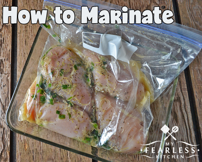 How to Marinate from My Fearless Kitchen. Marinating meat and vegetables is a great way to pack more flavor into a simple dinner. There are a few things you need to keep in mind as you're getting your marinades ready and while your food is getting a good soak.