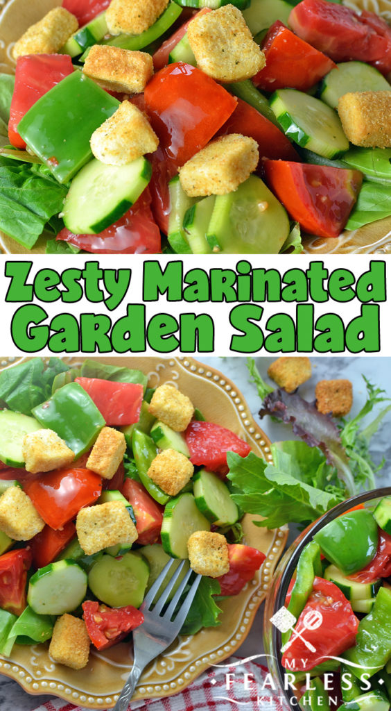 Zesty Marinated Garden Salad from My Fearless Kitchen. Add a flavor punch to a traditional garden salad! This Zesty Marinated Garden Salad is easy to make ahead and use for a quick side on a busy night. #saladrecipes #easyrecipes #sidedishrecipes