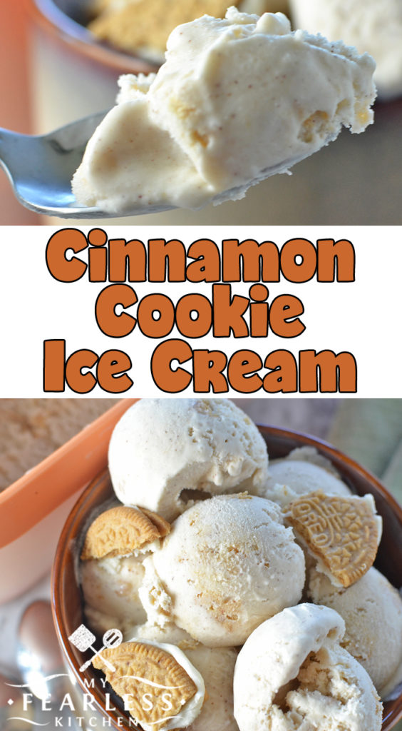 Cinnamon Cookie Ice Cream from My Fearless Kitchen. If you love cinnamon and Oreos, you'll love this simple Cinnamon Cookie Ice Cream! It's the perfect dessert for a hot summer day or a cool fall night. #icecream #homemadeicecream #easyrecipes #oreos #dessertrecipes
