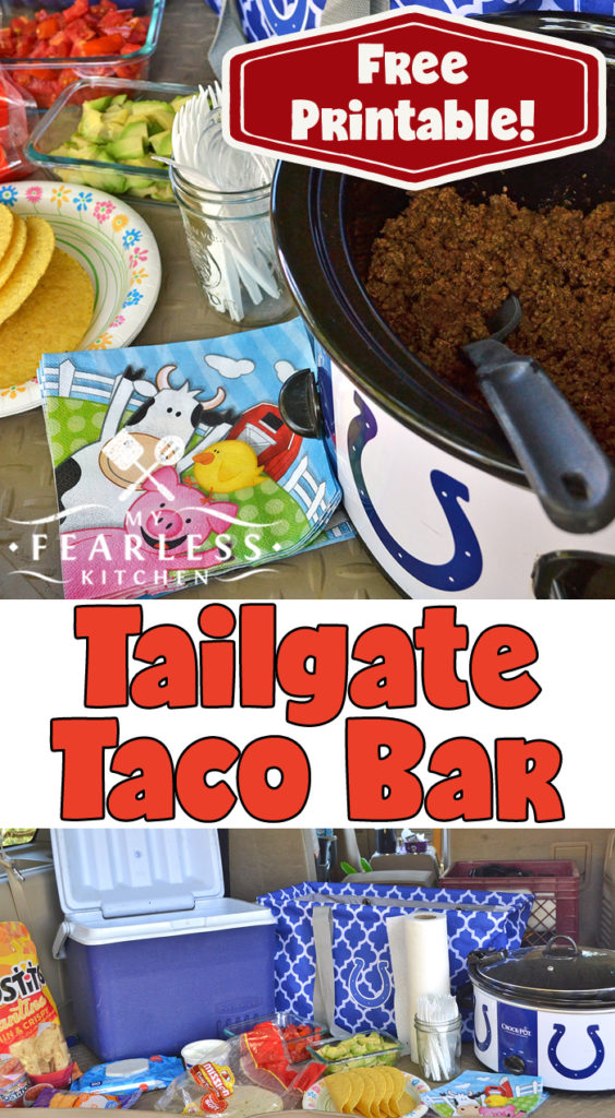 Whether you're heading to your favorite college or professional football game, an after-school activity, a fun weekend picnic, or just a quick lunch by the side of the field, this Tailgate Taco Bar is going to be a huge hit! #tacos #tailgate #tailgateparties #tacorecipes