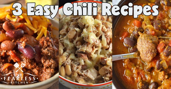 3 Easy Chili Recipes from My Fearless Kitchen. Are you looking for some warm comfort food that doesn't need you to be slaving over the stove all day? These Three Easy Chili Recipes are exactly what you need!