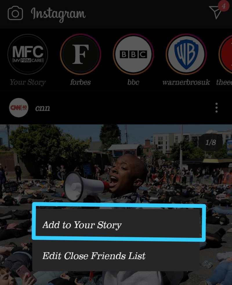 Add a Swipe Up Link to Instagram story step 2