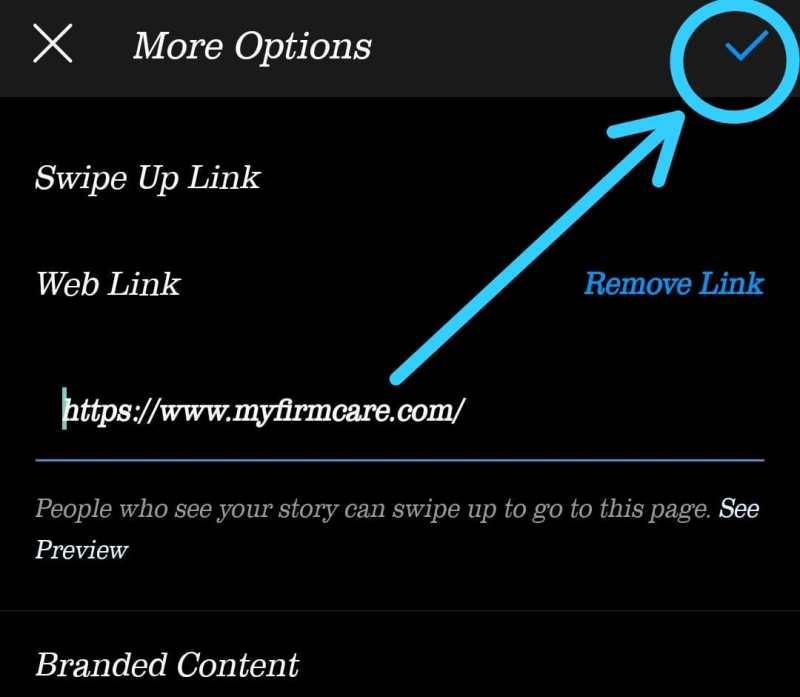 Add a Swipe Up Link to Instagram story step 6