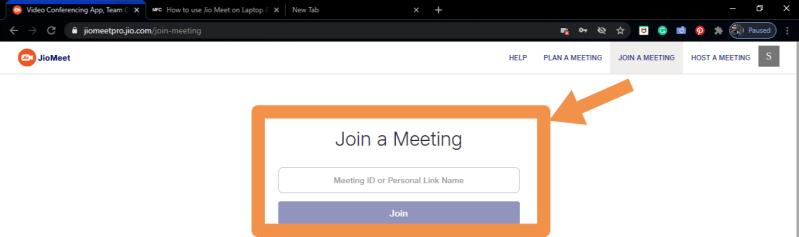 Join meeting in jio meet