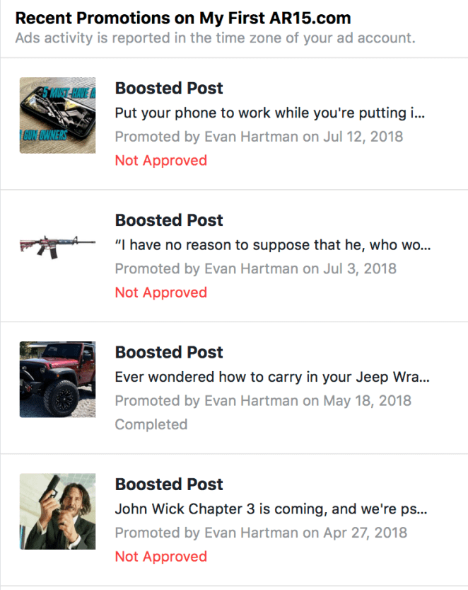 facebook gun page screen shot