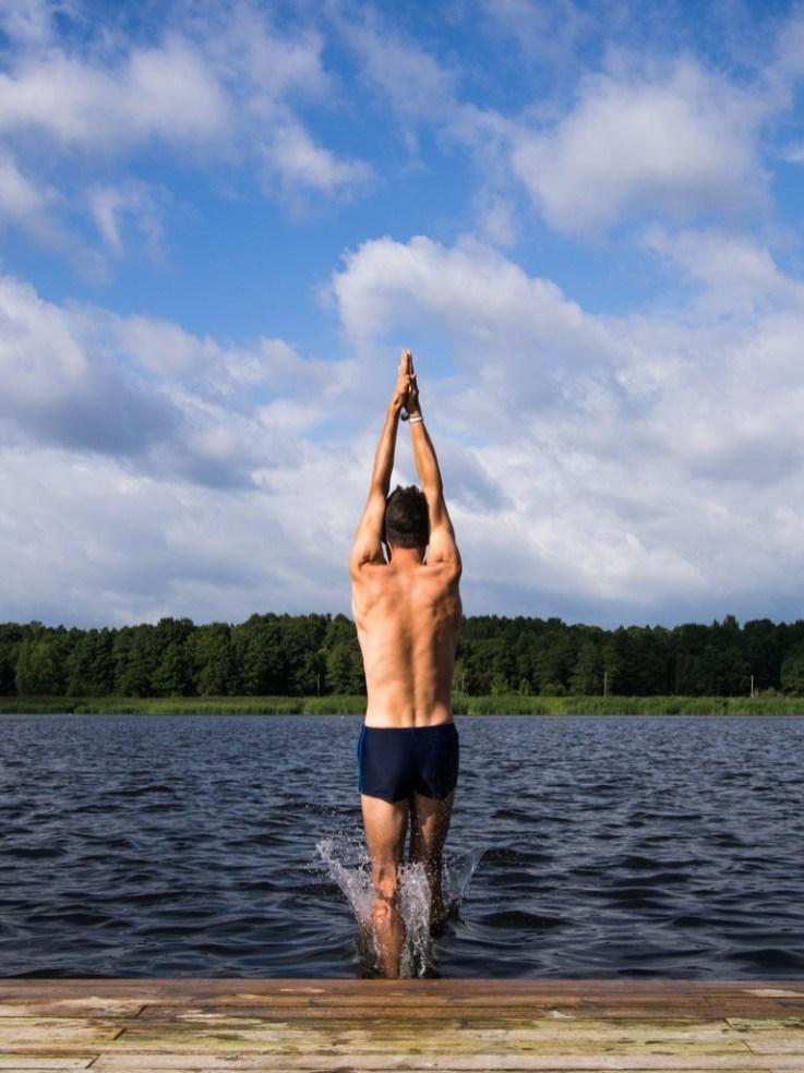 jumping into the parnu river estonia