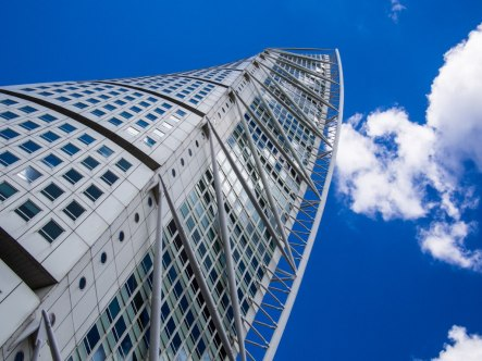 Turning Torso from below. It made me dizzy to try and take this picture.