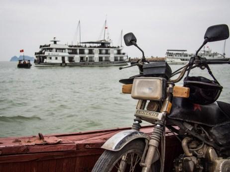 Motorbike on the boat, Ha Long.